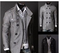 Wholesale Black Grey Men s Wool Coat Double Breasted Shoulder Epaulets Long Trench Coats Dropshi