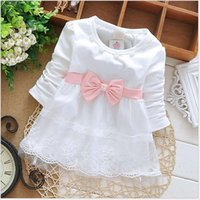 Wholesale Long Sleeve Baby Tutu Birthday - Fashion Spring Autumn Long Sleeve lace Bow cute baby Party Birthday girls kids Children dresses, princess infant Dress S1853