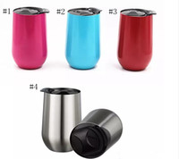 Wholesale Travel Tumblers Wholesale - New 16oz Stainless Steel Cups Wine Glasses Vacuum Insulated cups 16 oz Tumbler Outdoors Travel Mugs Wine cups with Lid Egg Cup YYA903