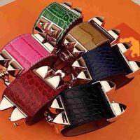 Wholesale charms crocodiles - Low wholesale H crocodile pattern four studded leather rivet leather bracelet exaggerated punk wind wide bracelet fashion H bracelet