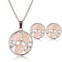 Wholesale Wholesale Model Bride - Quality models bride crystal opal necklace earrings wedding jewelry Jewelry Sets Women banquet