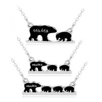 Wholesale Models Link - 3 Models Mama Bear Necklace Black Enamel Bear Mother Son Pendant Chains Kids Fashion Jewelry Gift Drop Shipping