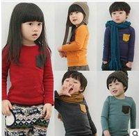 Wholesale Spring Shirts For Girls - Wholesale Children Long Sleeve T-shirts Pocket Candy Color Thick Cotton T-shirts For Boy Girl 15008