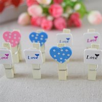 Wholesale Wooden Memo Clips - 100 pcs lot kawaii mark love heart Wooden Memo photo Paper Clips Office Supplies Wholesale Wedding Stationery Clip kids Gift