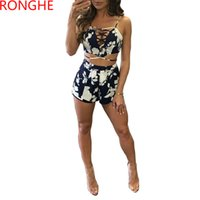 RongHe Ensemble Femme Sexy Elegant Suit Hollow Out Bandage Crop Tops и мини-шорты Beach Two Pieces Backless Clubs Tracksuit