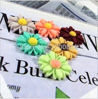 Wholesale Sunflowers Resin Cabochons - Wholesale-22mm Mixed Color Resin Cabochons Flat Back Sunflower Flower Jewelry Making 10pcs 4Q213
