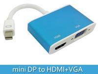 Wholesale Apple Mini Displayport Vga - 2 in 1 Mini DisplayPort Thunderbolt DP to VGA HDMI Adapter For Apple For MacBook Air Pro