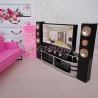 Wholesale Blythe House - Hi-Fi 1:6 TV Home Theater Cabinet Set Combo for Blythe for Barbie Dolls House Dollhouse Furniture