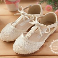 Wholesale Girls Pink Party Shoes Lace - Cute Wedding Girls Shoes Lace Pearl Bow Hollow Lace-up Flower Girl Shoes Free Shipping Party Formal Event Shoes For Girls