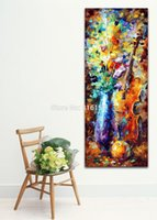 Wholesale Life Palette - Modern Palette Knife Oil Painting Violin Candelabrum Still Life Picture Printed On Canvas For Home Office Wall Decor Art