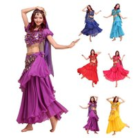 Wholesale Yellow Dance Top - 4PCS 3 Layers Falda Flamenco Skirt + Shiny Bells Crop Top +Veil +Belts Bollywood Indian Dress Set Belly Dance Costume More Colors
