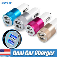 Wholesale Dual Usb Mobile Phone Charger - ZZYD Metal Car charger Aluminium Alloy 2.1 A Dual USB port High quality charging Adapter For Tablet Samsung Galaxy S8 mobile phone