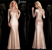 Wholesale Mother Bride Dress Rose - 2016 Sparkly Rose Gold Janique Mother Of the Bride Dresses Long Sleeves Mermaid Sequins Elegant Mother Dress Evening Party Gowns Custom Made