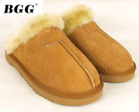 Wholesale Women Cow Slippers - dorp SHIPPING 2014 New Women Fashion Cow Leather Snow Adult Slippers US5-13 Bag Logo pink sandy chestnut chocolate