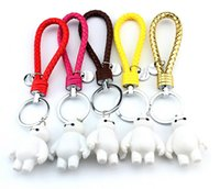 Wholesale Doraemon Car Accessories - 2015 New arrival Beast corps white braided rope keychain doraemon handmade leather cord cartoon car accessories Lovers keychain QL166