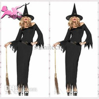 Wholesale Top Sexy Cosplay - Wholesale-cosplay Sexy Black Witch Long Dress Fantasia Role-playing christmas costumes Top Quality and Elasticity Halloween costume HNW034