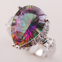 Wholesale Sizing Mystic Topaz Ring - Rainbow White Mystic Topaz 925 Sterling Silver Woman Ring Size 6 7 8 9 10 F617 Fashion Wholesale Jewelry Free Shipping