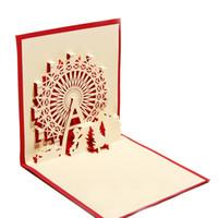 projetos feitos à mão do aniversário cartões venda por atacado-100 pcs Handmade Chinês Kirigami Origami 3D POP Up Cartões com Sky Roda Projeto Cartões de Presente de Aniversário Com Envelope
