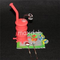 Wholesale nail barrel for sale - Group buy Hookah Silicone Barrel Rigs Mini Silicone Rigs Dab Jar Bongs Jar Water pipe Silicon Oil Drum Rigs with dabber mat quartz nails