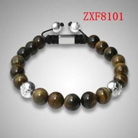 Wholesale Yellow Stone Silver Bracelet - new style US POP shamballa Yellow tiger stone beads hand made fashion bracelets nialaya bracelet whosale ZXF8101