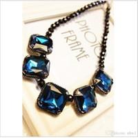 edelsteine perlen halskette großhandel-Mode Luxus Bunte Edelsteine Halsreifen Europa Edelsteine Anhänger Kragen Aussage Halsketten Frauen Damen Diamant Schwarz Perlen Schmuck Halskette
