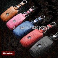 Wholesale Bmw Leather Wallet - Wholesale-5 Colors Cow real leather car key chain case cover for Bmw F10 F20 F30 E90 E60 1 2 4 5 6 7 Series x1 x3 x4 x5 x6 116i 320i 530i