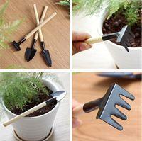 rastrillo de mini pala al por mayor-1 Set = 3 pcs Mini herramientas de jardín pequeña rastrillo de la pala multifuncional que cultiva un huerto herramienta de siembra Plantas del hogar Rotura de la pala IA1012