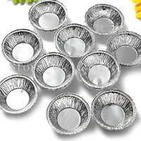 Wholesale Muffins Cups - 125pcs Disposable Silver Foil Baking Cup Cookie Muffin Cupcake Tart Mold Round Cake Tools Kitchen Gift Free Shipping