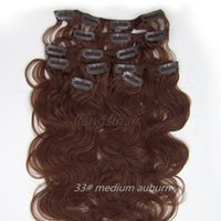 Wholesale brazilian remy human hair 33 for sale - Group buy 15 quot quot medium auburn Clip in human Hair Extensions Body Wave Style Brazilian Peruvian Malaysian Indian virgin Remy human Hair