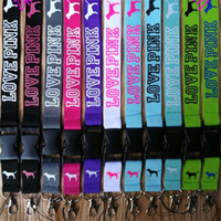 Wholesale Key Id Neck Strap Lanyards - 13 colors Love Pink Letter Neck Strap Lanyard with Silver Metal Clip VS Lanyard for Key Phone iD Card Keychain