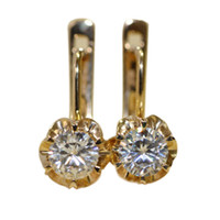 Wholesale Tcw Brilliant - FG 1Carat(TCW) Charles&Colvard Brand Round Brilliant Moissanite Genuine 14k Yellow White Gold Drop Dangle Earrings Fine Jewelry