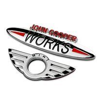 Wholesale John Cooper Stickers - Mini John Cooper Works Chrome Metal Car Emblems Stickers for Door Accessoreis Silver Mini Wing Car Tail Body Exterior Decoration 1763