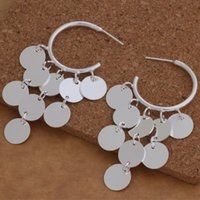 Wholesale Disc Sterling Silver - Fashion (Jewelry Manufacturer) 20 pcs a lot Hanging 9 discs earrings 925 sterling silver jewelry factory price Fashion Shine Earrings