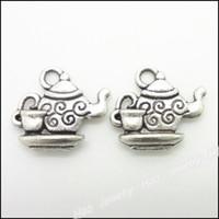 Wholesale Tea Set Diy - 65 pcs Vintage Charms Tea set Pendant Antique silver Fit Bracelets Necklace DIY Metal Jewelry Making
