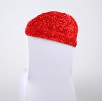 kırmızı düğün kanadı toptan satış-Kırmızı 3D Gül Çiçek Düğün Sandalye Ucuz Düğün Malzemeleri Masa Örtüleri Kapakları Fabrika Sandalye Kapak Sashes Toptan Asimetri