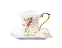Wholesale China Porcelain Tea Cups - 2016 Rhinestone Orchid China Porcelain Tea Mug Home Office Ceramic Coffee Cup and Saucer Set