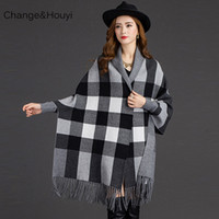 Wholesale Ladies Larger Size - Wholesale- Women's Loose Poncho Plaid Sweaters Spring And Autumn Lady Tassel Poncho Cape Sweeaters Coat Larger Size Knitted Cardigans