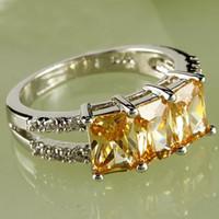 ingrosso oro morganite-A0094-8 Gemme di topazio bianco taglio smeraldo di gemme di topazio bianco placcato in oro bianco 18 carati Misura 8 Nave libera