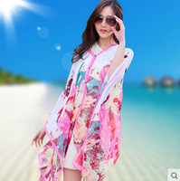 Wholesale Women Ponchos Sale - Grace Hot Sale! poncho sarong scarfs Colorful Floral Print Beach Cover Up New Women Summer beach sarongs Unique