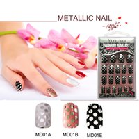 Wholesale false abs - Wholesale-Adhesive Metallized Full Cover False Nails Fashion Luxury Metallic False Nails Art Short ABS Nail Tips Metallic Art Tips