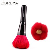 Wholesale thick makeup brush - Zoreya Brand Hot Sales Red Flower Thick Soft Natural Goat Hair Make Up Brush Women Makeup Powder Brush for Cosmetic Tool