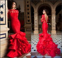 Wholesale Fashion Dress Collection - Long Sleeve Red Evening Mermaid Evening Pageant Dresses 2017 New Collection Sexy V Back Vintage Lace Tiered Satin Skirts Prom Gowns BA0603