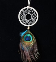 Wholesale Price Peacock Feathers - hot sale fashion good price peacock feathers ornaments native american indian dream catcher DIA for christmas gift D496