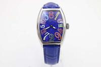Wholesale Tonneau Skeleton Watch - Luxury Brand New Srainless Dezel Blue Leather Belt Womens Stainless Steel Skeleton Watch Womens Blue Dial Wrist Watches