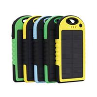 Wholesale Power Bank External Battery Waterproof - 5000mah Solar power bank Outdoor Waterproof Universal Solar Charger External Backup Battery For iPhone iPad Samsung cellpPhone charge