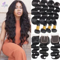 Wholesale modern hair show - Modern Show Brazilian Body Wave Hair Weaves 4 Bundles with Closure Brazilian Human Hair with Lace Closure Unprocessed Brazilian Virgin Hair