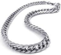 collar de estilo asiático al por mayor-Estilo asiático oriental de la India 316L acero inoxidable Miami bordillo cubano Chain Link Necklace en Hombres Joyería de Día de Acción de Gracias para el esposo 10mm 24 ''