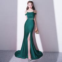 2-teiliges fischschwanz-abschlussballkleid großhandel-Fashion New Abendkleid Sexy Slim Fishtail Green Sweep Zug Zwei Stücke Einfache Satin Mermaid High Split Prom Party Kleider