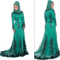 Wholesale Evening Gowns For Muslim Women - Arab Islamic Muslim Prom Dresses Hijab Spring Long Sleeves Evening Party Gowns Plus Size Formal Dress For Muslims Women 2015-2016 Attire