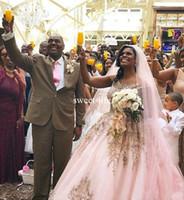 красивые розовые свадебные платья оптовых-Скромный 2017 бальное платье Свадебные платья совок кружева аппликации длина пола розовый романтический Сексуальный на заказ красивая мода свадебные платья